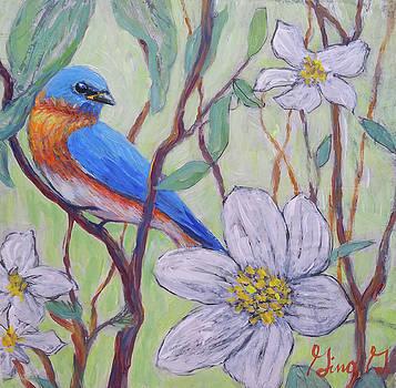 Blue Bird and Blossoms by Gina Grundemann
