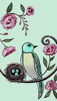 Elizabeth Robinette Tyndall - Blue Bird and Peonies