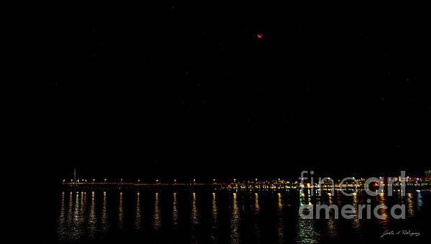 Blue Blood Moon 2018 Ventura, California Pier by John A Rodriguez