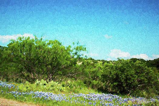 Blue Bonnets Mesquite and Cactus    5547 by Fritz Ozuna