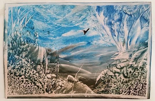 Blue brown landscape by Lorraine Bradford