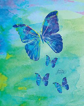 Blue Butterflies Watercolor by Jan Marvin