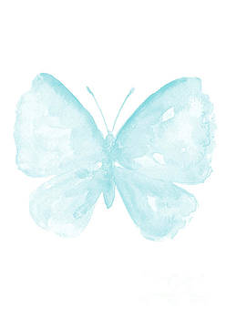 Blue Butterfly, Baby Blue Paster Kids Room Clip Art, Butterflies Watercolor Painting by Joanna Szmerdt