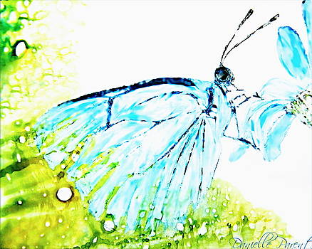 Blue Butterfly On Daisy Alcohol Inks by Danielle  Parent