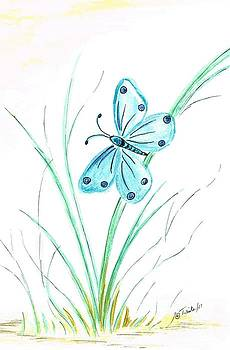 Blue Butterfly  by Teresa White