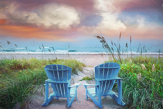 Debra and Dave Vanderlaan - Blue Chairs at the Sea Painting