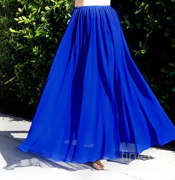 Sofia Metal Queen - Blue chiffon skirt. Ameynra 4-everyday