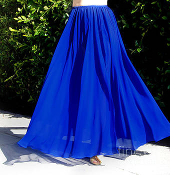 Sofia Metal Queen - Blue chiffon skirt from Ameynra collection 02-Beta