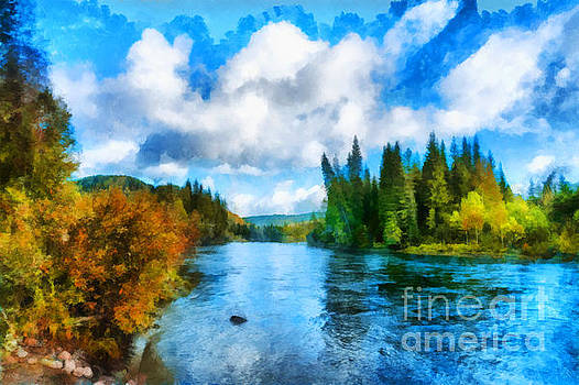 Blue cloudy sky over Nichka river illustration by Magomed Magomedagaev