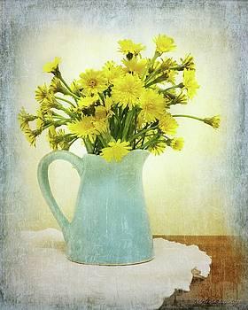 Blue Creamer Dandelions Rustic Floral Still Life by Melissa Bittinger