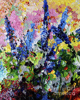 Ginette Callaway - Blue Delphiniums Impressionist Oil Painting