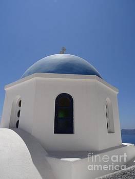Blue dome chapel in Santorini by Mitzisan Art LLC