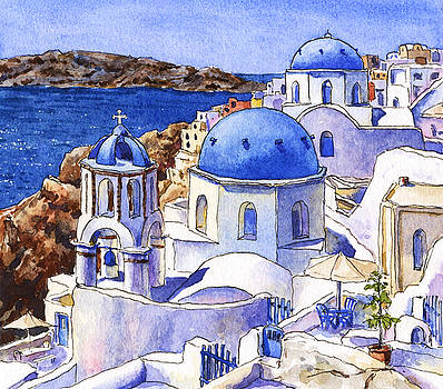 Blue Domes of Santorini by Leslie Fehling