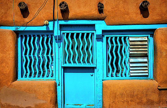 Blue Door And Windows by Garry Gay