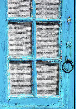 David Letts - Blue Door Window with White Lace