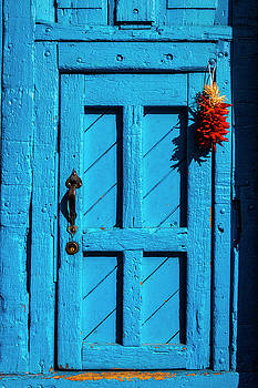Blue Door With Red  Chilis by Garry Gay