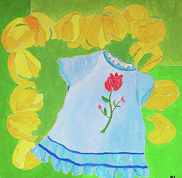Blue Dress and Tulips by Martin Silverstein