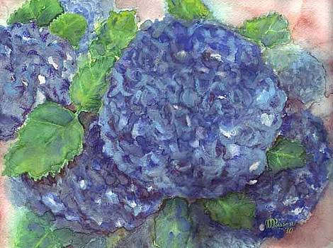 Blue Eyes - hydrangea flower  by Jean-Marie Poisson
