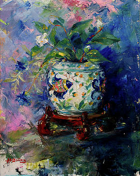 Blue Fish With Flowers by Ann Bailey