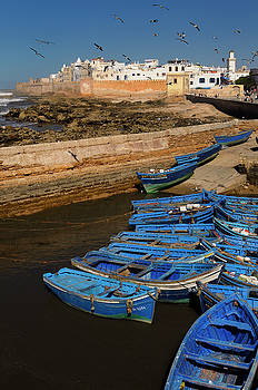 Reimar Gaertner - Blue fishing boats and the sea bastion ramparts of Essaouira Mor