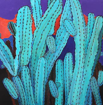 Blue Flame Cactus Acrylic by M Diane Bonaparte