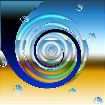 Blue Floating Yin Yangs by Rizwana Mundewadi