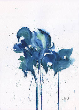 Blue Flowers Abstract by Frank Bright