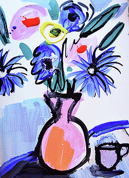 Blue flowers and coffee cup by Amara Dacer