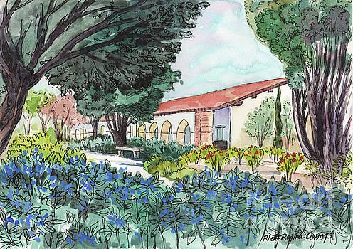 Blue Flowers at Mission San Juan Bautista by Rhett Regina Owings