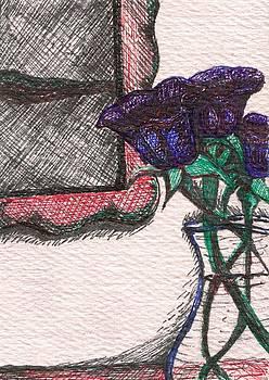 Blue Flowers in a Fictional Setting by Joseph Bradley