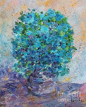 Blue flowers in a vase by Amalia Suruceanu