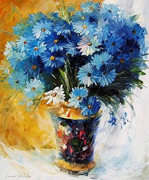 Blue Flowers - PALETTE KNIFE Oil Painting On Canvas By Leonid Afremov by Leonid Afremov