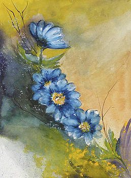 Blue Flowers by Sibby S