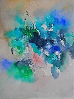 Blue flowers watercolor by Pol Ledent