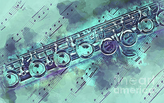 Blue flute watercolor by Delphimages Photo Creations