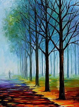 Blue Fog 2 - PALETTE KNIFE Oil Painting On Canvas By Leonid Afremov by Leonid Afremov