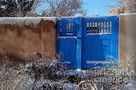 Blue Gate in Snow by Ann Sullivan
