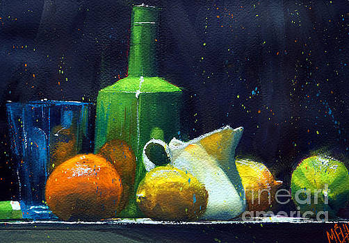 Blue glass and lemons by Andre MEHU
