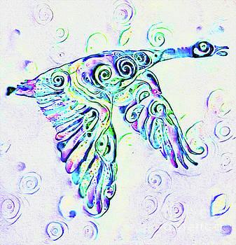 Blue Goose Print by Nina Silver