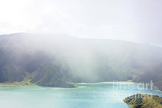 Blue Green Lake Fog Island by Jan Brons