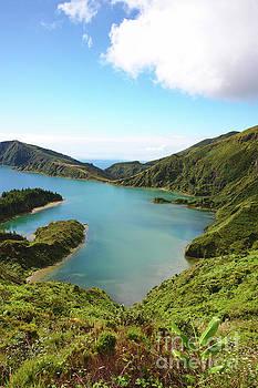 Blue green lake ocean island by Jan Brons