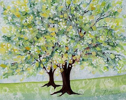 Blue Green Morning Tree by Peggy Davis