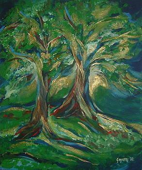 Blue Green Trees by Gayatri Manchanda