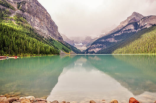 Blue-green waters of Lake Louise by Daniela Constantinescu