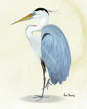Blue Heron in Oil by Anne Beverley-Stamps