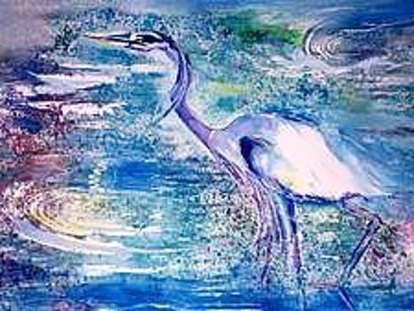 Blue Heron by Lily  Azerad-Goldman