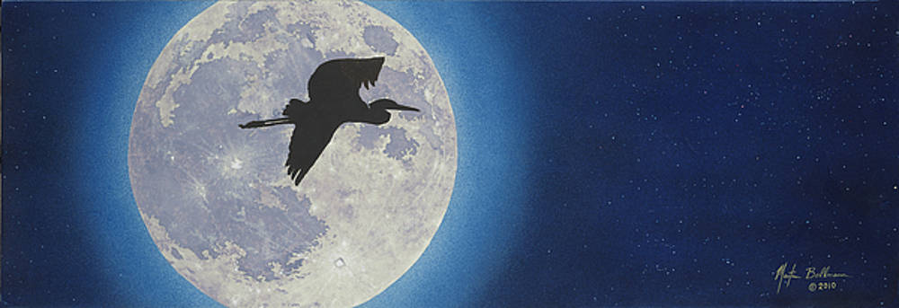 Blue Heron Moon by Martin Bellmann