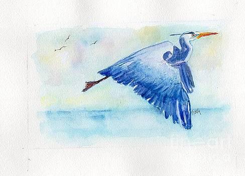 Blue Heron over still waters by Doris Blessington