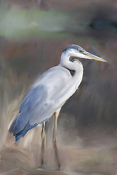 Blue Heron Painting  by Don  Wright