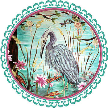 Custom Blue Heron - round by Mary Silvia